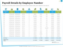 Payroll Details By Employee Number Pay Ppt Powerpoint Presentation Slides Influencers