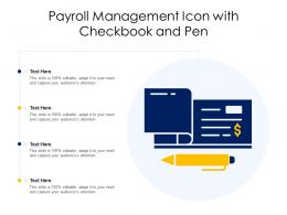 Payroll Management Icon With Checkbook And Pen
