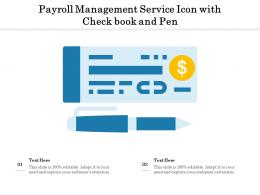 Payroll Management Service Icon With Check Book And Pen