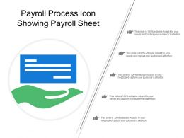 Payroll Process Icon Showing Payroll Sheet