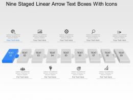 pb Nine Staged Linear Arow Text Boxes With Icons Powerpoint Template Slide
