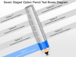 pb Seven Staged Option Pencil Text Boxes Diagram Powerpoint Template