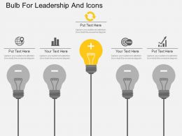 Pc Bulb For Leadership And Icons Flat Powerpoint Design