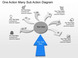 pc One Action Many Sub Action Diagram Powerpoint Template Slide