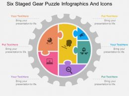 pc Six Staged Gear Puzzle Infographics And Icons Flat Powerpoint Design