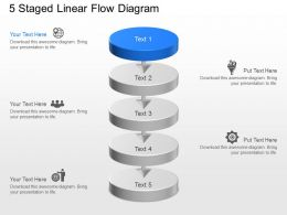 pd 5 Staged Linear Flow Diagram Powerpoint Template