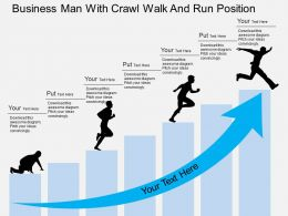 Pd Business Man With Crawl Walk And Run Position Flat Powerpoint Design