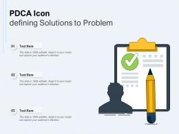 PDCA Icon Defining Solutions To Problem