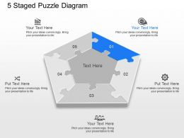 pe 5 Staged Puzzle Diagram Powerpoint Template