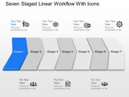 pe Seven Staged Linear Workflow With Icons Powerpoint Template Slide