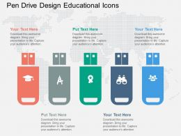 Pen Drive Design Educational Icons Flat Powerpoint Design