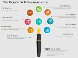 Pen Graphic With Business Icons Flat Powerpoint Design