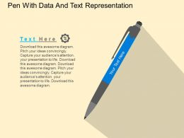 Pen With Data And Text Representation Flat Powerpoint Design