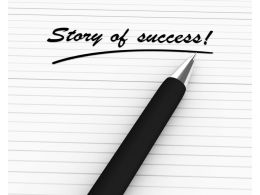 Pen Writing Story Of Success Stock Photo