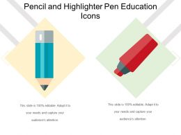 Pencil And Highlighter Pen Education Icons