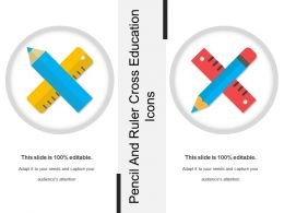 Pencil And Ruler Cross Education Icons