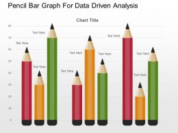 Pencil Bar Graph For Data Driven Analysis Powerpoint Slides
