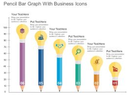Pencil Bar Graph With Business Icons Flat Powerpoint Design