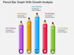 Pencil Bar Graph With Growth Analysis Flat Powerpoint Design