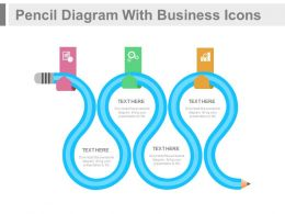 Pencil Diagram With Business Icons Flat Powerpoint Design