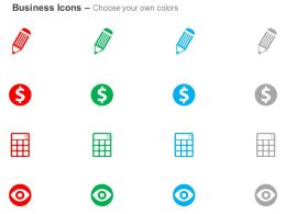 Pencil Dollar Sign Calculator Eye Future Vision Ppt Icons Graphic