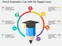 Pencil Graduation Cap With Six Staged Icons Flat Powerpoint Design
