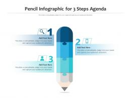 Pencil Infographic For 3 Steps Agenda