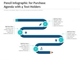 Pencil Infographic For Purchase Agenda With 4 Text Holders