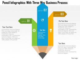 Pencil Infographics With Three Way Business Process Flat Powerpoint Design