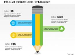 Pencil Of Business Icons For Education Flat Powerpoint Design