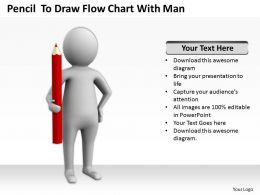 Pencil To Draw Flow Chart With Man Ppt Graphics Icons Powerpoint