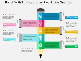 Pencil With Business Icons Five Brush Graphics Flat Powerpoint Design