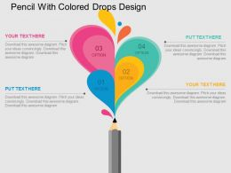 Pencil With Colored Drops Design Flat Powerpoint Design