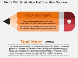 Pencil With Graduation Hat Education Success Flat Powerpoint Design