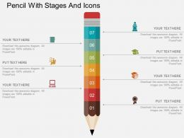 Pencil With Stages And Icons Flat Powerpoint Design