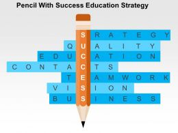 Pencil With Success Education Strategy Flat Powerpoint Design