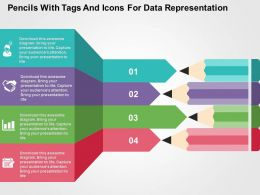 Pencils With Tags And Icons For Data Representation Flat Powerpoint Design