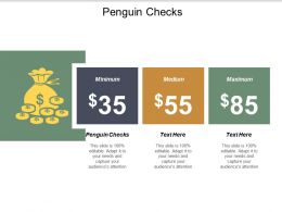 Penguin Checks Ppt Powerpoint Presentation Gallery Background Images Cpb