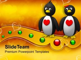 Penguin Couple Holding Hands Animal PowerPoint Templates PPT Themes And Graphics 0213