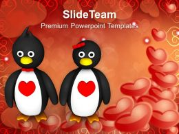 Penguin Couple Holding Hands Hearts Day PowerPoint Templates PPT Themes And Graphics 0213