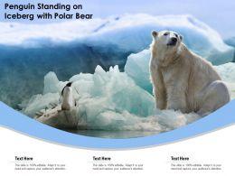 Penguin Standing On Iceberg With Polar Bear