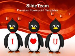Penguins Love Message Celebration PowerPoint Templates PPT Themes And Graphics 0213