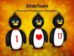 Penguins Showing I Love You Valentines PowerPoint Templates PPT Themes And Graphics 0213
