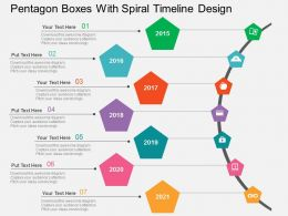 pentagon_boxes_with_spiral_timeline_design_flat_powerpoint_design_Slide01