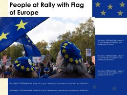 People At Rally With Flag Of Europe