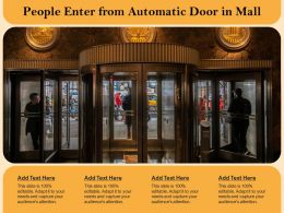 People Enter From Automatic Door In Mall