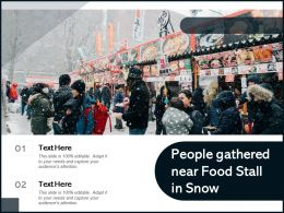People Gathered Near Food Stall In Snow