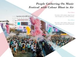 People Gathering On Music Festival With Colour Blast In Air
