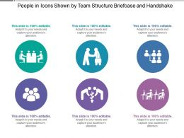 People In Icons Shown By Team Structure Briefcase And Handshake