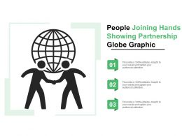 People Joining Hands Showing Partnership Globe Graphic